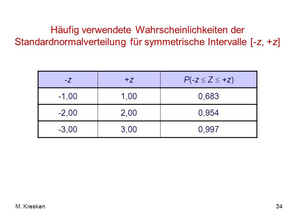 Häufig verwendete Wahrscheinlichkeiten der Standardnormalverteilung für symmetrische Intervalle [-z, +z]